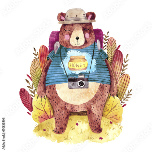Cute big bear with backpack. Hand drawn watercolor illustration with traveling bear. Cute plants on background. - 170835504