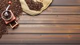 Kaffeebohnen auf braunem Brett mit Kaffeemühle - 170836967