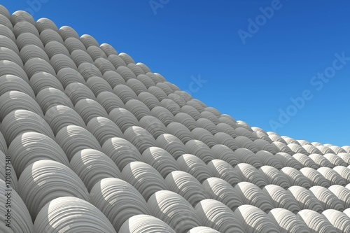 Foto op Plexiglas Abstract wave Beautiful abstract wave on a blue background, balls and sky