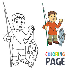 coloring page with people fishing cartoon