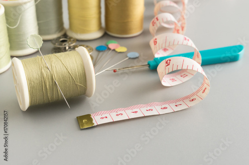 thread and pin important tools for handicraft sewing Poster