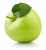 One ripe green apple fruit with green leaf isolated on white background. Granny smith apple with clipping path