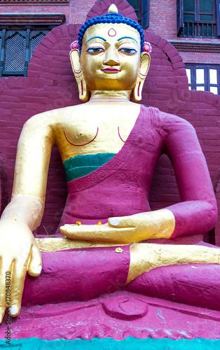 Foto op Canvas Boeddha Statue of Buddha in Swayambhunath Temple
