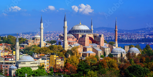 Hagia Sophia basilica in Istanbul city, Turkey Poster