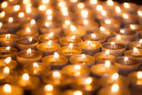 Soft dreamy image of bright candlelight from burning tea light candles. Christmas background image. - 170851768