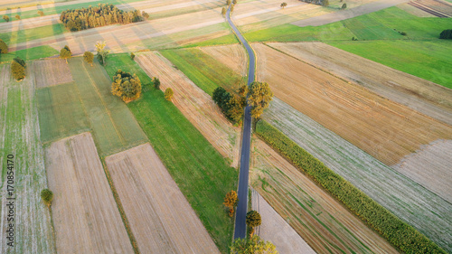 Fotobehang Pistache Aerial landscape with fields at sunset