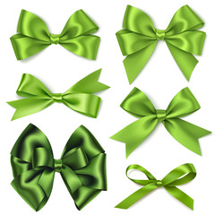Vector set of decorative green bows isolated on white