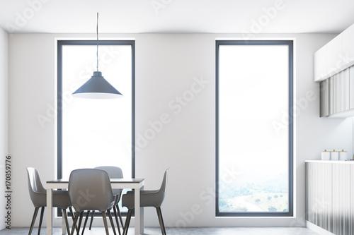 Wooden white kitchen, countertops, table