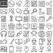 Communication & media line icons set
