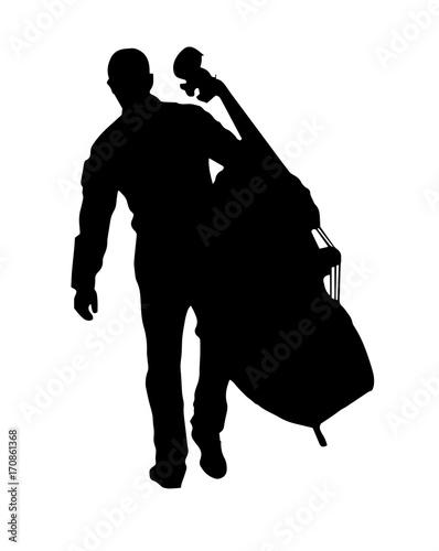 Fototapeta black silhouette vector of a musician holding the big cello