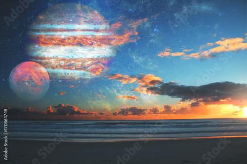 Foto op Canvas Zee zonsondergang Imagination concept