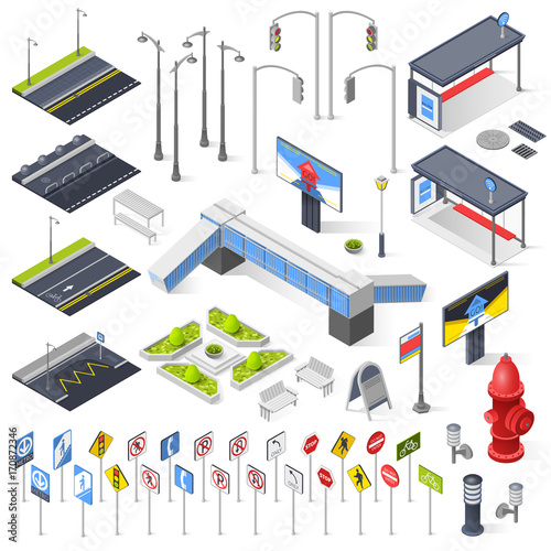 City Street Constructor Isometric Elements  - 170872346
