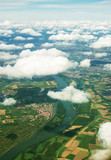 Aerial view of Rhine river in Germany. - 170873586