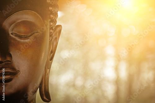 Leinwanddruck Bild the Head of Buddha Statue.