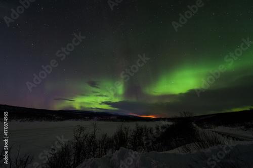 Aluminium Noorderlicht Northern lights, aurora borealis, Alta, Norway winter