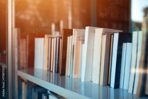 Books on library shelf through window