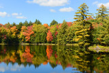 Fototapety Church Pond in fall with foliage in town of Paul Smiths, Adrondack Mountains, New York, USA.