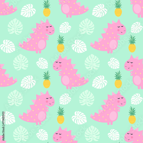 Cotton fabric Pink dinosaur with pineapple and palm leaves seamless pattern on mint green background. Vector dino background for kids. Child drawing style cartoon illustration. Design for fabric, textile, decor.