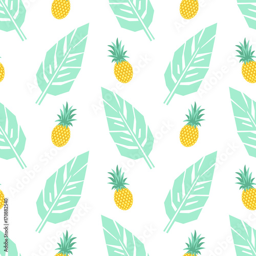 Tropical trendy seamless pattern with pineapples and mint green palm leaves on white background. Exotic Hawaii art background. Fashion design for fabric, wallpaper, textile and decor. - 170882540