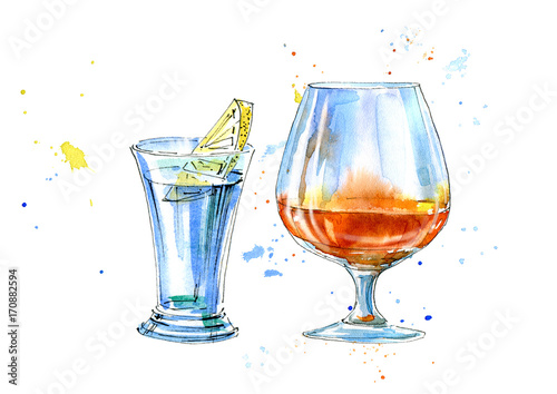 Vodka with lemon and cognac.Picture of a alcoholic drink.Watercolor hand drawn illustration.Isolated sketch. - 170882594
