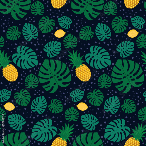 Tropical trendy seamless pattern with pineapples, lemons and green palm leaves on dark background. Exotic Hawaii art background. Fashion design for fabric, wallpaper, textile and decor. - 170883138