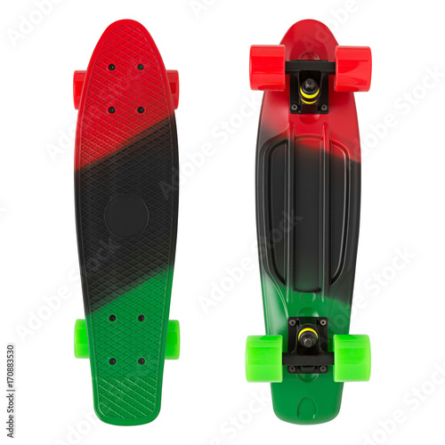 Fotobehang Skateboard multicolored skateboard on isolated white background
