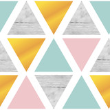 Triangular geometrical background with marble, gold, pink, mint green color on white background. Vector illustration.