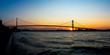 Panoramic view of Ambassador Bridge connecting Windsor, Ontario to Detroit Michigan