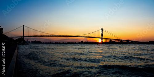Fotobehang Bruggen Panoramic view of Ambassador Bridge connecting Windsor, Ontario to Detroit Michigan