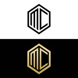initial letters logo mc black and gold monogram hexagon shape vector - 170893189