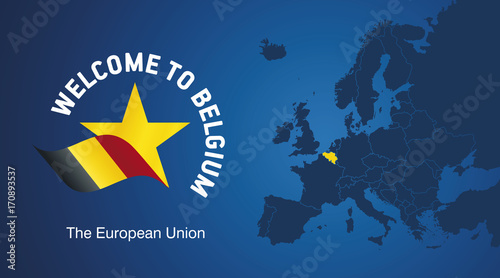 Foto op Plexiglas Antwerpen Welcome to Belgium EU map banner logo icon