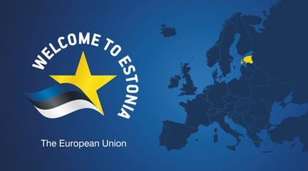 Welcome to Estonia EU map banner logo icon