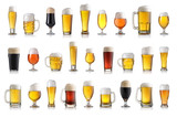 Set of various full beer glasses. Isolated on white background - 170897762