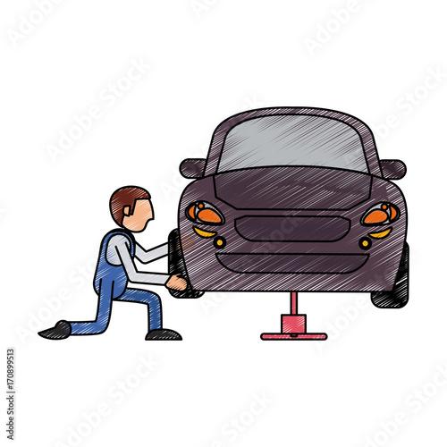 Fotobehang Auto Mechanic worker cartoon icon vector illustration graphic design