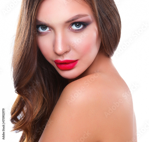 Poster Portrait of beautiful young woman face