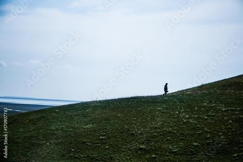 Aluminium Blauwe hemel Beautiful landscape on mountain. Sky.