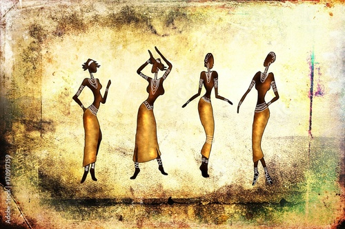 Fridge magnet african ethnic retro vintage illustration