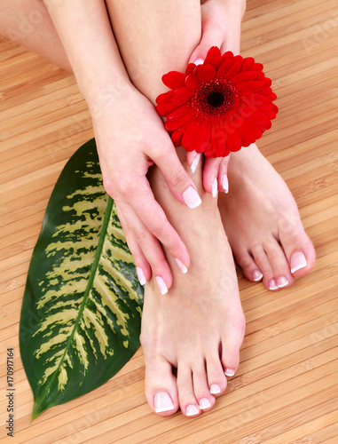 Papiers peints Pedicure Closeup shot of female legs and hands with clean and soft skin. Skincare concept