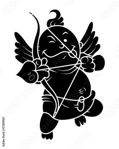 Aiming Kid Cupid Silhouette