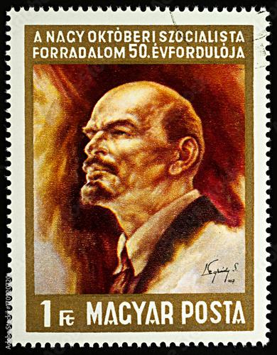 Poster Russian communist leader Vladimir Lenin (1870-1924) on postage stamp