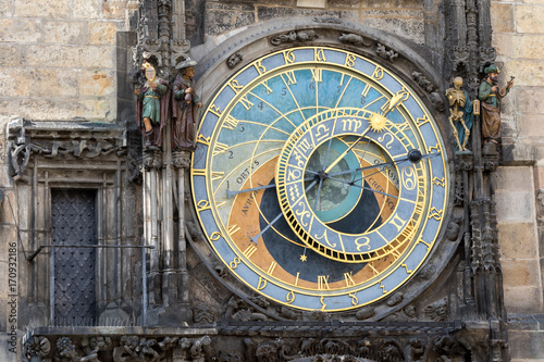 Fotobehang Praag Prague, Czech Republic - August 18, 2017: astronomical clock in old town square
