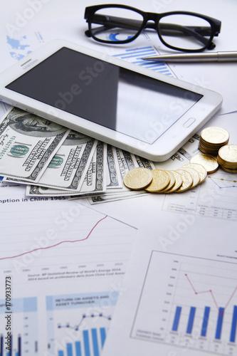 Finance concecpt - money, chart, coin, banknote, keyboard, fin tech - 170933773