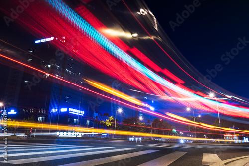 Fotobehang Nacht snelweg traffic trails in downtown suzhou,jiangsu province,china,asia.