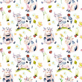 Seamless pattern with watercolor cute cartoon cows, ladybugs and simple flowers illustrations, hand drawn isolated on a white background