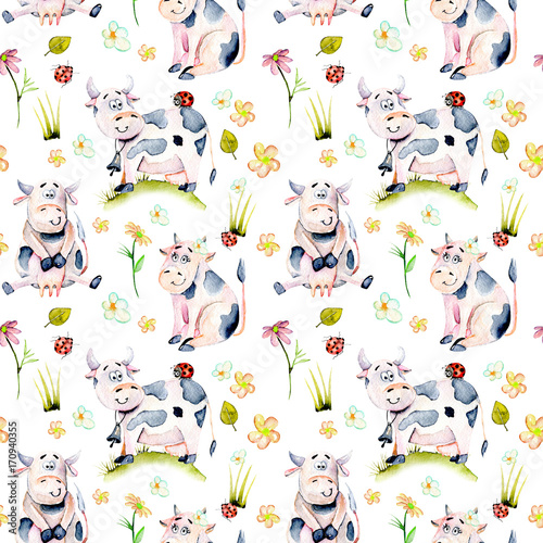 Seamless pattern with watercolor cute cartoon cows, ladybugs and simple flowers illustrations, hand drawn isolated on a white background - 170940355