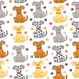 Cute vector dogs seamless pattern. Funny doodle wallpaper.
