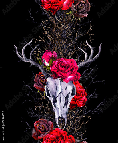 Deer animal skulls with rose flowers, branches. Seamless border frame. Watercolor - 170946920