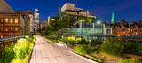Panoramic view of the High Line promenade at twilight with city lights and illuminated skyscrapers. Chelsea, Manhattan, New York City - 170947333