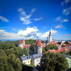 View of the old town of Tallinn (Europe) from the observation deck