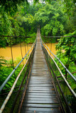 Vertical view of a suspension bridge in the jungle near Chiang Mai - 170957915